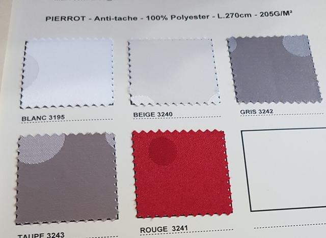 GAMME PIERROT ANTI TACHES TEFLON 100% Polyester laize 275cm